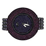 Men Hip Rapper Style Big Look Custom Bling Master Techno Pave Watch Cluster Band