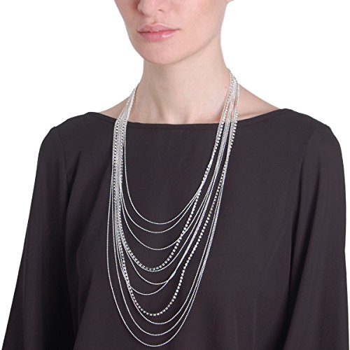 Humble Chic Waterfall Jewel Long Necklace Multi-Strand Statement CZ Rhinestone Chains, Silver-Tone by Humble Chic NY (Image #1)
