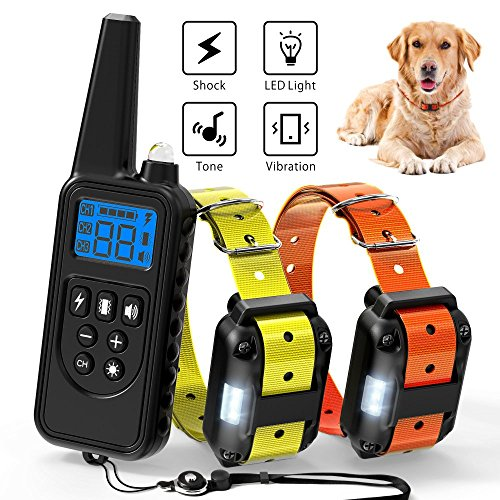 (Ace Teah Dog Training Collar,Rechargeable Dog Shock Collar with Beep Vibration Shock,100% Waterproof Training Collar LED Light 2600ft Remote Range Electronic Collar Shock for Small Medium Large Dogs)