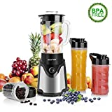 BESTEK Personal Blender with 600ml Glass Jar, 200ml Coffee Grinder, 570ml and 470ml Single Serve Blender for Smoothie and Frozen Fruit Drinks