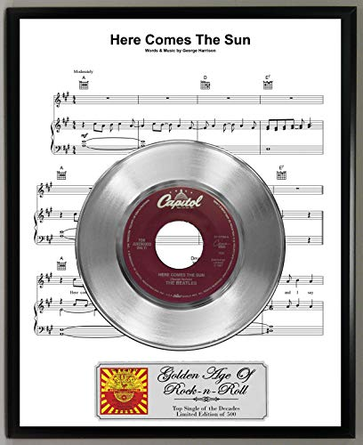 G.A.R.R. Beatles Here Comes The Sun Limited Edition 45 RPM Platinum Record Sheet Music Poster Art Display with Original Reproduction Sleeve Art & Record ()
