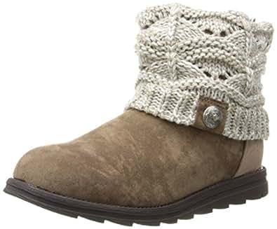 Muk Luks Women's Patti Cable Cuff Boot, Ivory, 6 M US