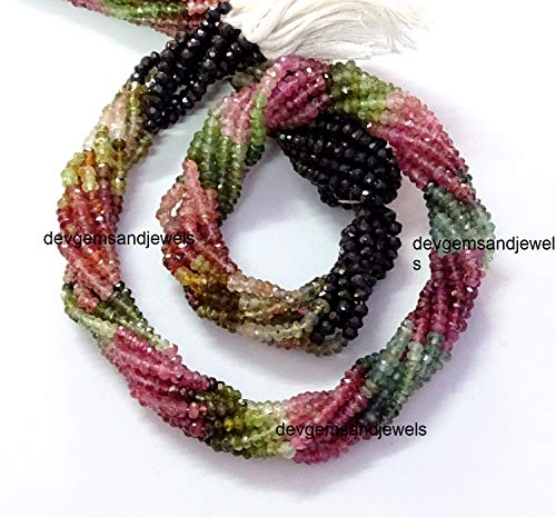 - Fine Quality Multi Tourmaline Faceted Rondelle Roundel Beads Gemstone 3-3.50 mm Full 13 Inches Strand for Jewelry Making Sale.