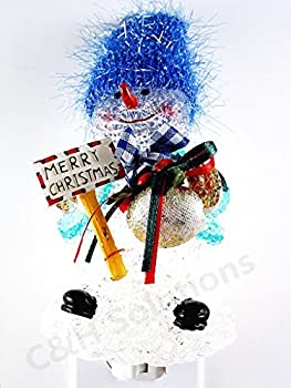 Merry Christmas blue hat Cute Snowman nightlights, Night Light ,Night Lamp ,Decotations Night Lights By C&H