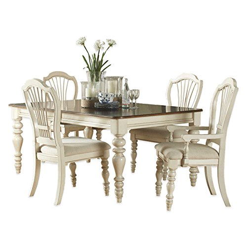 5-Piece Dining Set with Wheat Back Chairs in Old White