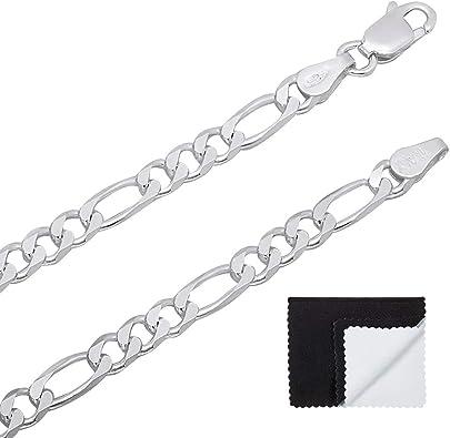 """Men Women .925 Sterling Silver 3mm Figaro Link Chain Bracelet Size 7/""""-9/"""""""