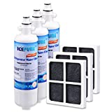 Icepure Refrigerator Water Air Filter Compatible With LG LT700P And LT120F,ADQ36006101 And ADQ73214402,KENMORE 469690,3PACK