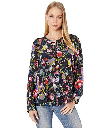 J.Crew Women's Silk Pleated Popover in Floral Print Navy X-Small