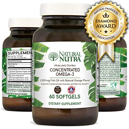 Natural Nutra Concentrated Omega 3 Fish Oil with EPA and DHA, Mulecularly Distilled, Tested for PCBs and Heavy Metals, FOS Certified, Non-GMO, Gluten Free, Burpless, Orange Flavor, 2-Month Supply
