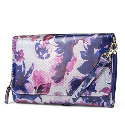 Mundi RFID Crossbody Bag For Women Anti Theft Travel Purse Handbag Wallet Vegan Leather (Glazed Bouquet)