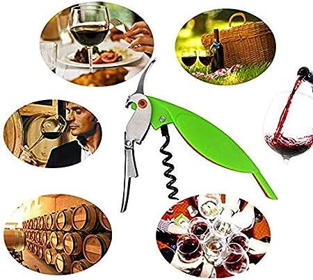 Taisuco Parrot Abrebotellas Multifuncional Sacacorchos de Acero Inoxidable para Botes de latas Botellas de Cerveza de Vino Tinto Herramientas de Barra (Naranja)