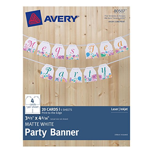 (Avery Matte White Party Banner 80507, 3.8 x 4.31 Inches, Pack of 20 Cards (80507))