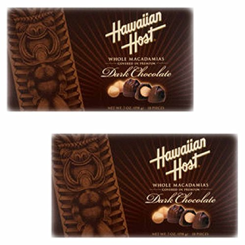 Value 2 Pack of Hawaiian Host Premium Signature Dark Chocolate Whole Macadamia Nuts (2 pack of 7-ounce boxes each for a total of 36 candies) delicious and perfect for holiday gifts