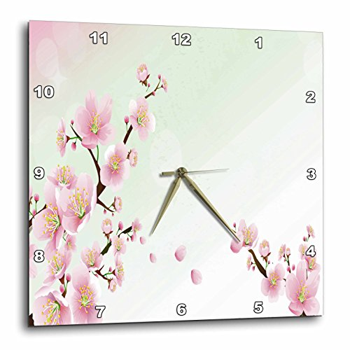 3D Rose dpp_222425_1 3dRose Two Pretty Sprigs of Cherry Blossoms-Wall Clock 10-inch (Blossom Clock)