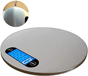 Kitchen Scale LCD Digital Round Shape Stainless Steel Display Electronic Food Scale Kitchen Weight Tool with Hanger 5KG/1g