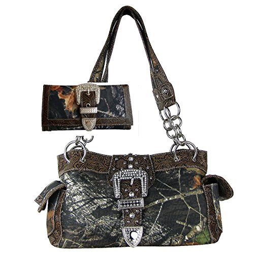 Camouflage Buckle (Western Concealed Carry Gun Belt Buckle Purse Camouflage Handbag Camo W Matching Wallet)