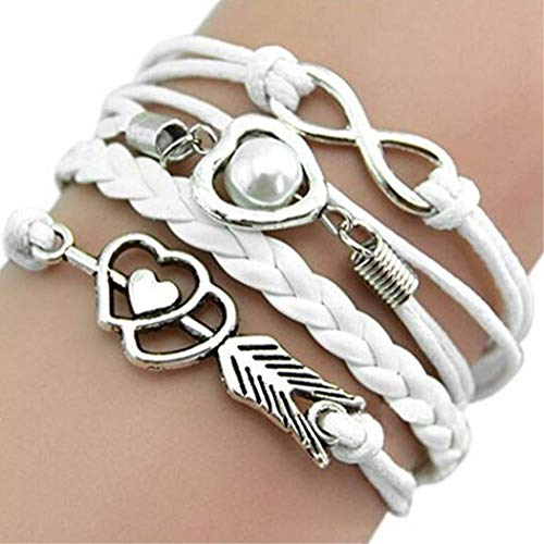 - WangNana Womens Multilayer Bracelet Infinity Cupid Love Heart Wings Charms Bracelet Leather Chain-9 Colors White