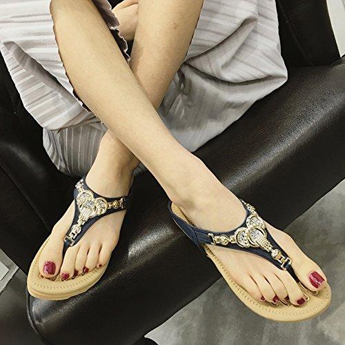 Azul Tamaño Tacón Azul Sandals 5 Casual Plano Gris Mujer uk3 color Pu Confort Eu36 Chanclas cn35 Verano Duo Elegante Sandalias SqZFxwgvS