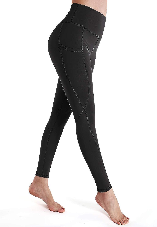 OUGES Womens High Waist Pockets Yoga Pants Power Flex Running Pants Workout Leggings