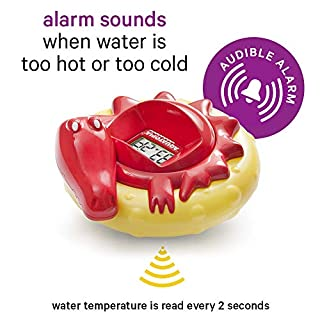AQUATOPIA Floating Safety Bath Thermometer for Infants, Digital Audible Alarm, Beeps When Too hot or Too Cold! (Red)