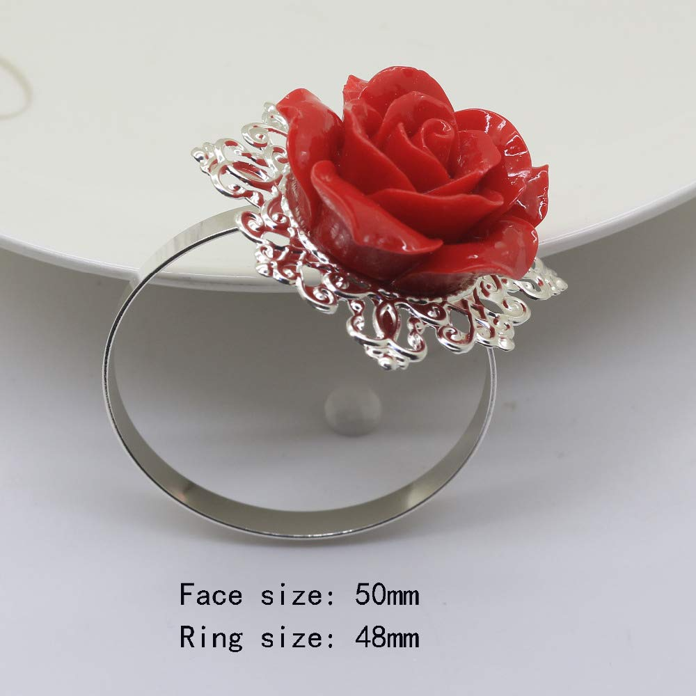 KathShop Fasion 5pc red Rose Decorative Silver Napkin Rings Napkin Holder Wedding Party Dinner Table Decoration Intimate Accessories