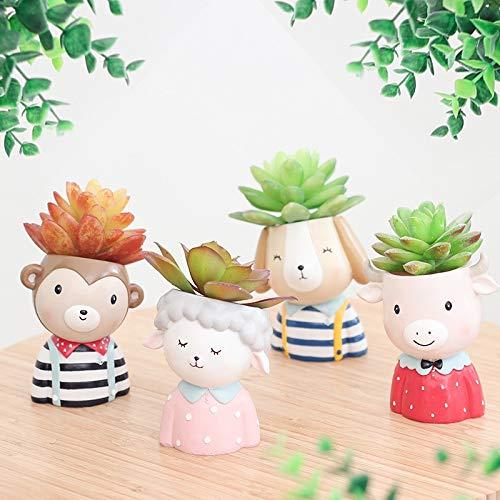 Pasonaseeds - Flower Pots & Planters - Farm Animals Planter Set - 4pcs Animal Succulent Plants Planter Pot Mini Bonsai Cactus Flower Pot Home Decor Monkey Puppy Craft ()