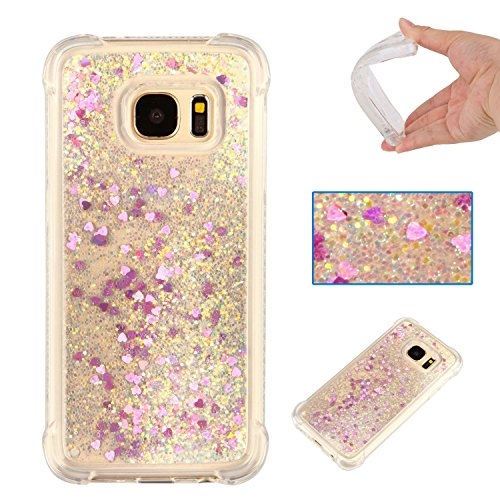 6131 Crystal (Galaxy S7 Case, AS-Zeke Liquid Bling Sparkle Quicksand Design Crystal Clear Transparent Soft Flexible TPU Redouble Shockproof Full Protective Cover for Samsung Galaxy S7 - Peach Heart)
