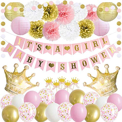 Little Princess Baby Shower Decorations (ANSOMO Princess Baby Shower Decorations Royal Pink and Gold It's a Girl Banner Crown)