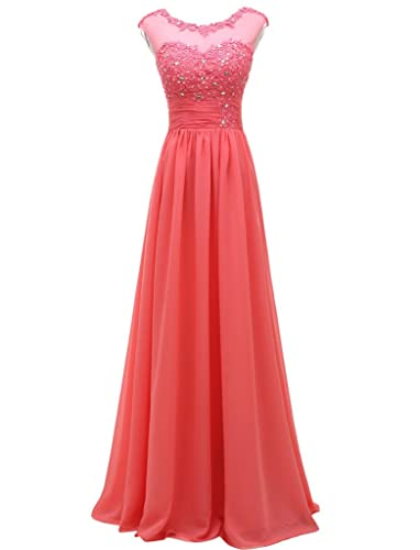 Pretygirl Women's Lace Long Prom Evening Dress Gown Bridesmaid For Wedding