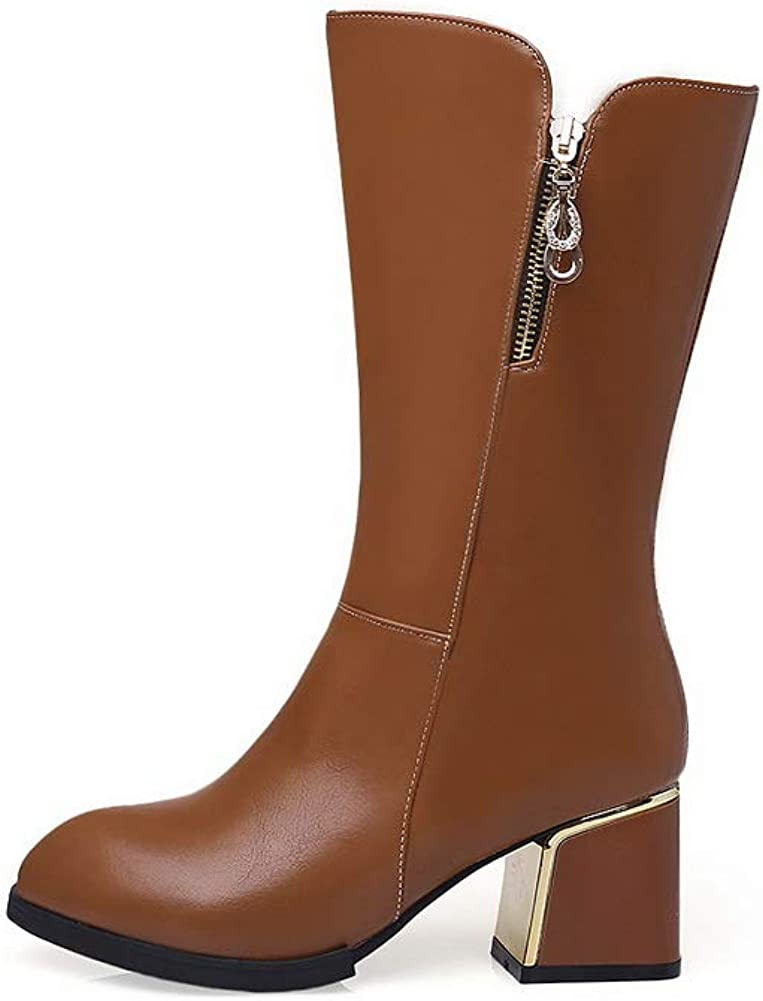 AN Womens Square Heels Chunky Heels Pointed-Toe Urethane Boots DKU02374