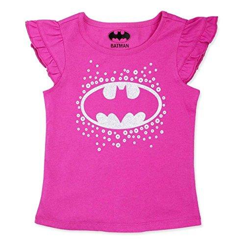 DC Comics Batgirl Girls Short Sleeve Tee (2T, Batgirl Pink)