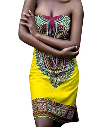 Coolred-femmes Fleur Africaine Imprimé Sexy Mince Robe Épaule Large Casual Jaune