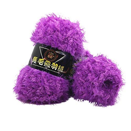 (Fur Yarn, Sacow Fluffy Eyelash Knitting Yarn Multicolor Feather Down Hand-woven Yarn Velvet Crochet Coral Cashmere Yarn (G))