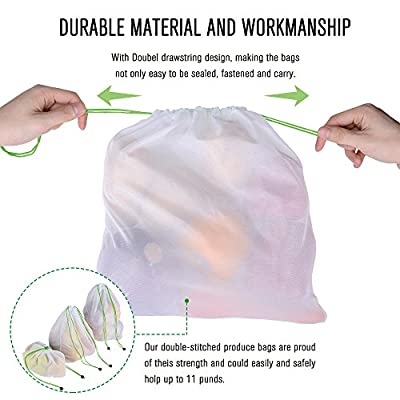 Reusable Produce Bags 12PCS, With 3 See-through for Bar-codes Scaning, Mesh Washable for Vegetable Fruit Sandwich, lightweight, Strong for Shopping Transporting Storing, Large, Medium, Small
