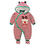 Newborn Baby Rompers Booties Hat Boys Girls Jumpsuit Winter Outfits Set, 0-3 Months