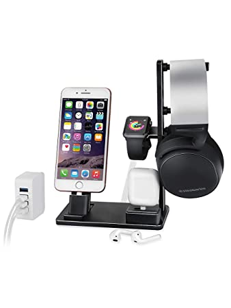 e887f6382 6 in 1 Apple Watch Stand Station Aluminum iWatch Charging Stand Dock  Station Headphones Holder for
