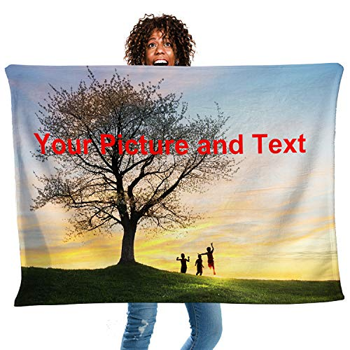 "Custom Blankets with Photos Collage with Name or Text Personalized Flannel Fleece Throw Blanket Gift for Adults Grandma Mom Dad Kids Family (18""x28"")"