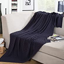 """Home-organizer Tech 100-percent Cotton Cable Knitted Woven Soft Throw Sofa/bedding/couch Cover Diamond Pattern Blanket for All Season (47"""" by 70"""", Dark Blue)"""