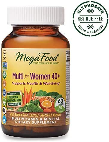 MegaFood - Multi for Women 40+, Multivitamin Support for Energy Production, Hormone Balance, Bone, and Brain Health with Methylated Folate and Iron, Vegetarian, Gluten-Free, Non-GMO, 60 Tablets