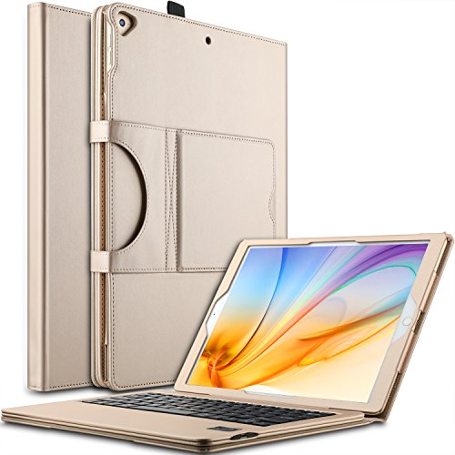 IVSO Case with Keyboard for Apple iPad Pro 12.9, Ultra-Thin Detachable Wireless Keyboard Stand Case/Cover for Apple iPad Pro 12.9-inch 2015/2017 Version Tablet (Gold)