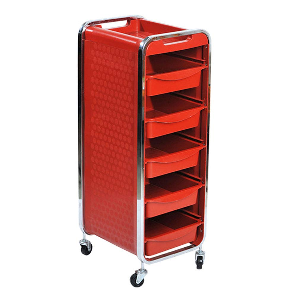 Beauty Salon Trolley Salon Multifunctional Drawer Hair Coloring Car Six Layers Black,Red