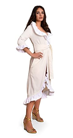 edd5d2cb85 BluSpa Wellness Angel Volant Velour Frottier Damen Bademantel. Morgenmantel  mit Rüschen aus 100% Baumwolle
