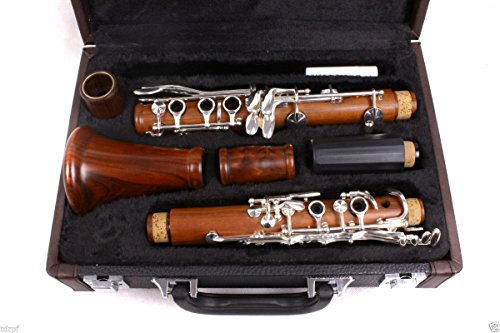 Yinfente Intermediate B-Flat Clarinet Rosewood wood Body Nickel Plate Bb Key 17 key Case + Reeds + Pads (New Clarinet)