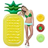 """Geefia Inflatable Pool Floats Pineapple, Pool Inflatable Float Raft for Adults and Kids 71""""x36""""x6"""", Summer Beach Swimming Floats Party Toys with 3 Inflatable Drink Holder"""