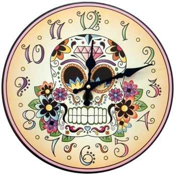 Calavera Sugar Skull Day of the Dead Flower Round Wall Clock