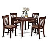4 Piece Kitchen Table Sets East West Furniture OXNO5-MAH-C 5-Piece Kitchen Table Set, Mahogany Finish