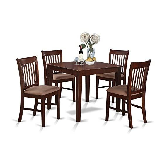 5 Pc Kitchen Table set - square Table and 4 Dining Chairs - This 5 piece dinette set Includes dining table and 4 cushion seat dining room chairs finished in Mahogany High grade dining room set that created from all Asian Hardwood. Basically no MDF, veneer, laminate use within our items. The kitchen chairs offer an extraordinary and stylish characteristic to any kitchen area as a result of floral inspired slatted back dining chairs design. - kitchen-dining-room-furniture, kitchen-dining-room, dining-sets - 51FRHQE5dbL. SS570  -