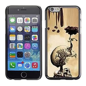 LECELL--Funda protectora / Cubierta / Piel For Apple iPhone 6 -- Rose Skull Metal Rock Roll Death Beige --