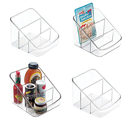 (mDesign Large Plastic Food Packet Organizer Caddy - Storage Station for Kitchen, Pantry, Cabinet, Countertop - Holds Spice Pouches, Dressing Mixes, Hot Chocolate, Rice, Taco Seasoning, 4 Pack - Clear)