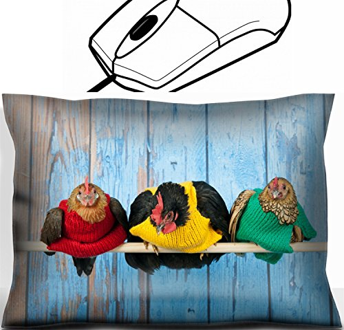 Price comparison product image MSD Mouse Wrist Rest Office Decor Wrist Supporter Pillow design 26614297 Row chickens with colorful sweaters in blue henhouse on stick